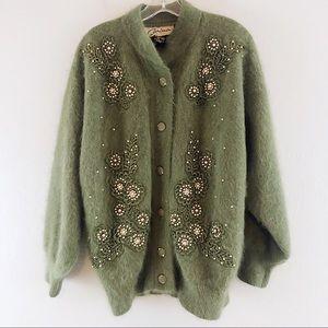 Vintage Carina Embroidered Angora Sweater Jacket S